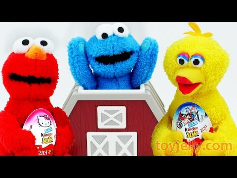 What's Inside? Learn Colors Animal Barn Baby Toys Elmo Cookie Monster Kids Kinder Joy Surprise Egg