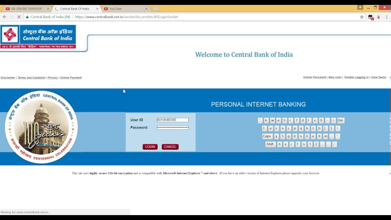 bank of india internet banking money transfer