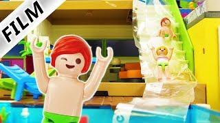 Playmobil Film deutsch | POOL SCHLITTERBAHN für Julian & Hannah Vogel BILOU-Schaumrutsche Kinderfilm