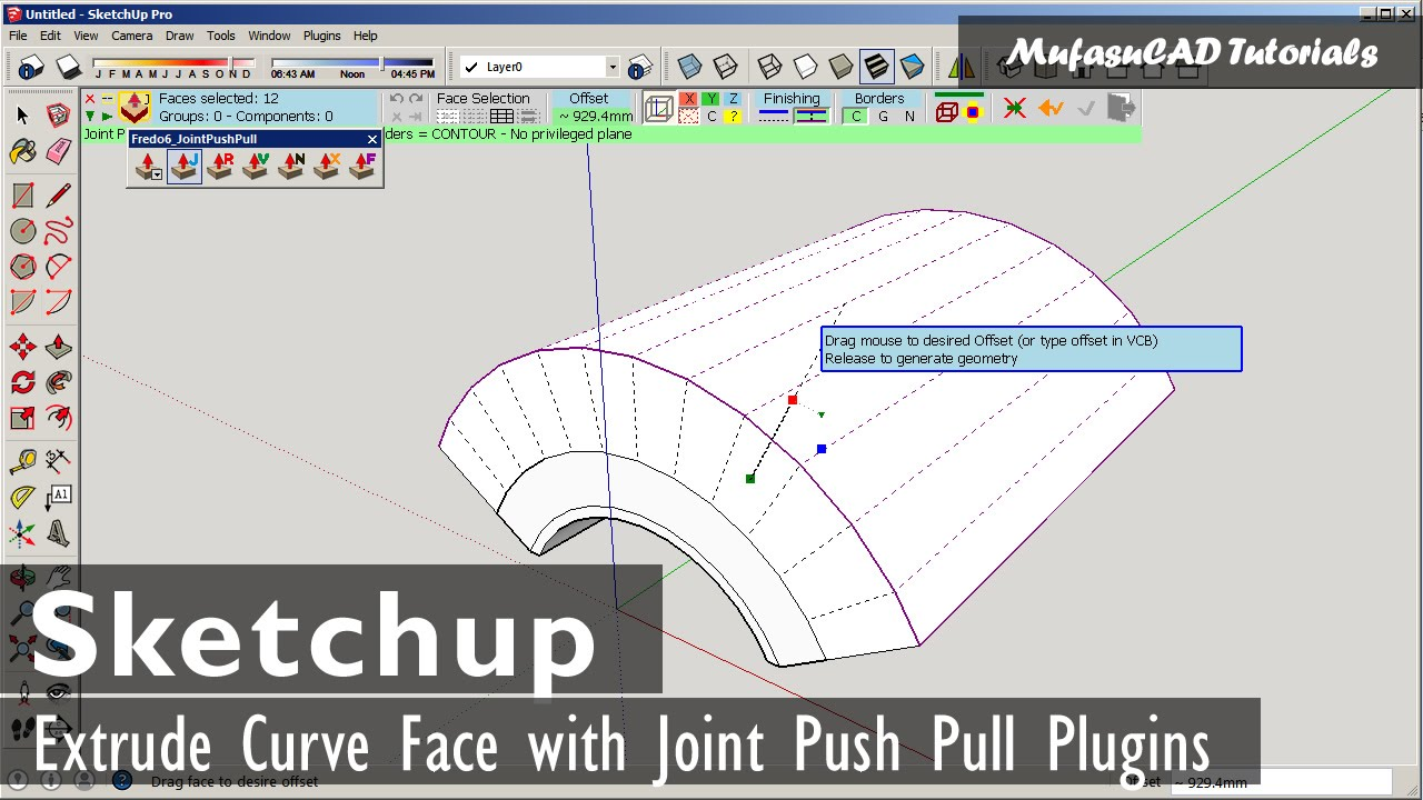 Sketchup Extrude Curve Face With Joint Push Pull Youtube