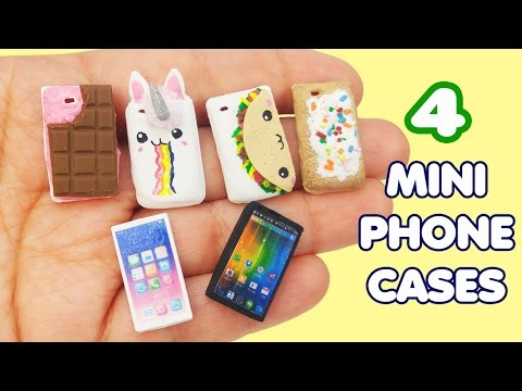 MINIATURE PHONE CASES DIY How to make clay doll crafts tutorial