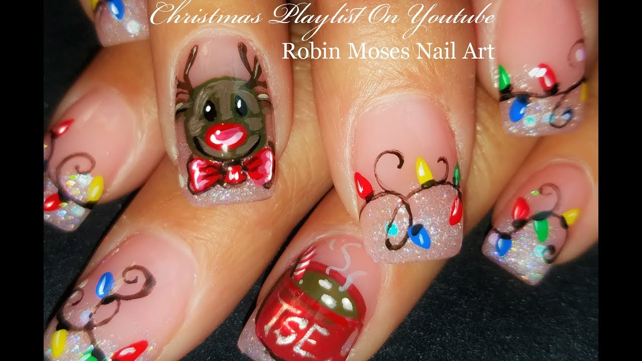 Xmas Nails Reindeer Hot Chocolate And Christmas Lights Nail Art Design