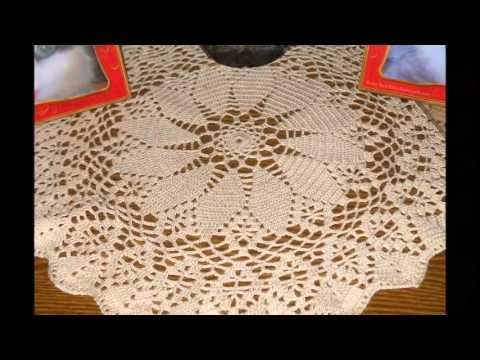 mantel de crochet para mesa redonda - YouTube