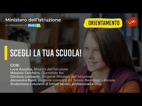 Scegli la tua scuola! Live con la Ministra Azzolina per l'orientamento scolastico
