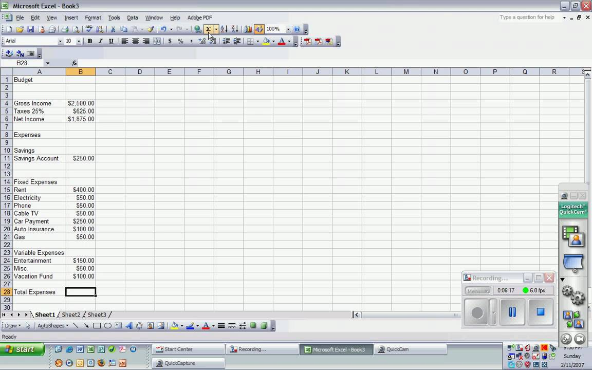 Making A Budget On Excel Video Youtube