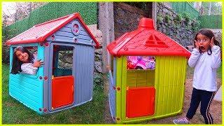 Yeni Çocuk Oyun Evlerimiz Hemde İki Tane Kırmızı Çatılı l Eğlenceli Çocuk Videosu