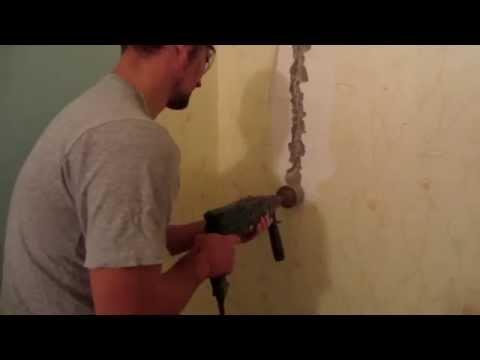 Штробление стены перфоратором. Установка подрозетников