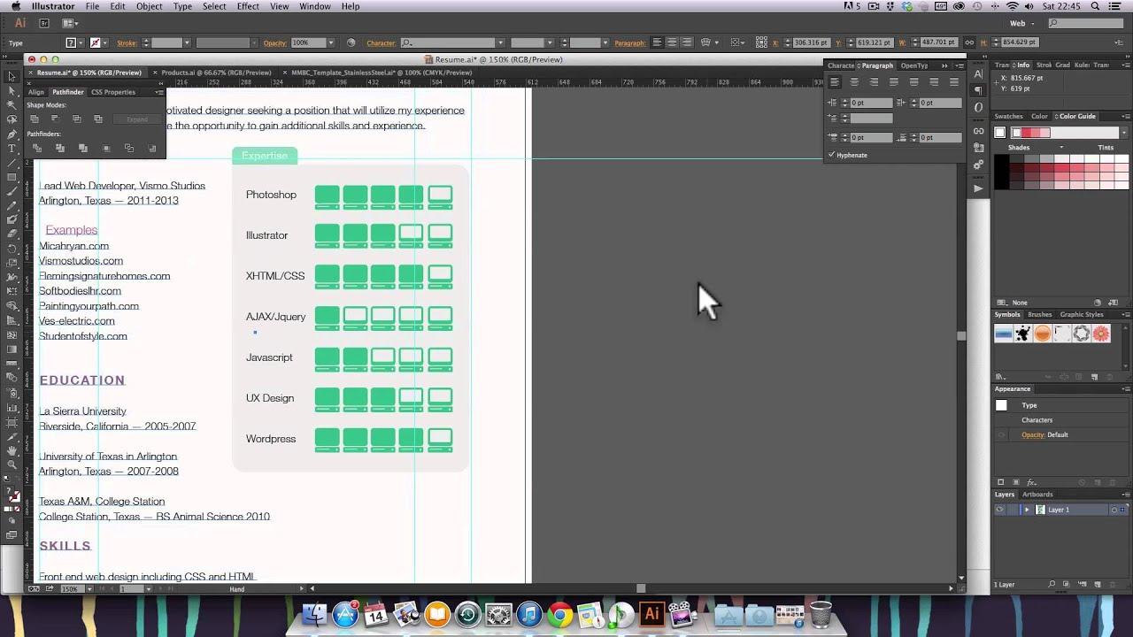 adobe illustrator cc resume design youtube