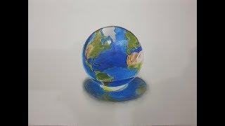 KOLAY VE GERÇEKÇİ 3D DÜNYA ÇİZİMİ YAP (EASY AND REALİSTİC 3D EARTH DRAW) #3D İLİZYON ÇİZİMLERİ-7#