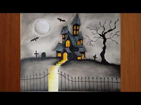Halloween Spooky House Drawing.Haunted House Drawing How To Draw A Haunted House Easy Halloween Drawings Step By Step