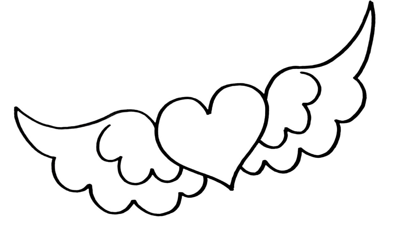 How To Draw A Heart With Wings Easy 1 Minute Drawing Youtube