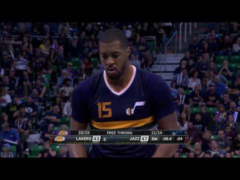 Derrick Favors Full Game Highlight VS Los Angeles Lakers(15Points,9Rebounds,2Blocks)