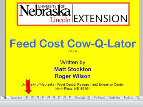 Using the Feed Cost Cow-Q-Lator