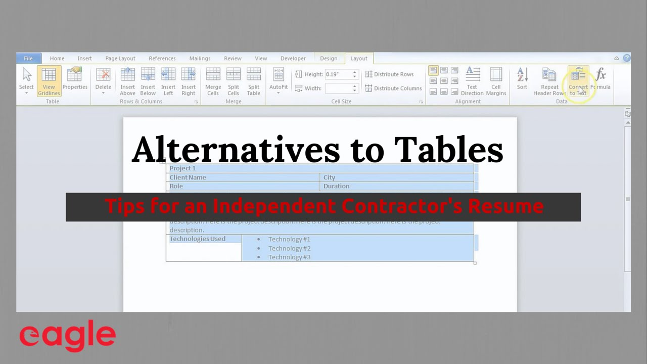 Ms Word Tip Alternatives To Using Tables In A Resume Youtube