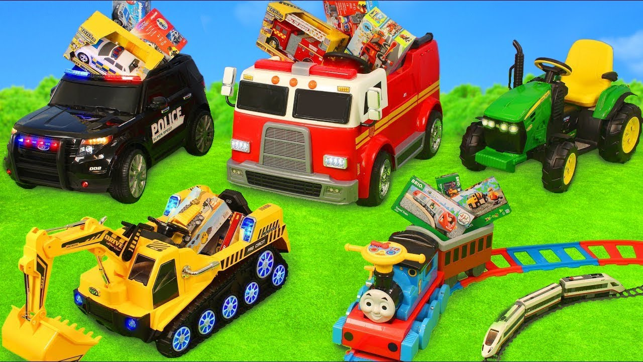 Fire Truck Tractor Excavator Police Cars u0026 Train Ride On  Toy Vehicles Surprise for Kids