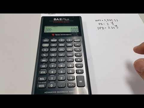 การคำนวณ PB DPB NPV IRR MIRR เครื่องคิดเลข BA II Plus และ BA II Plus Professional