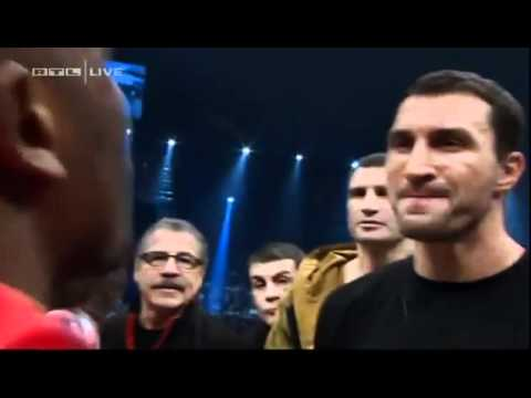 Dereck Chisora spits water in the face of Wladimir Klitschko HQ