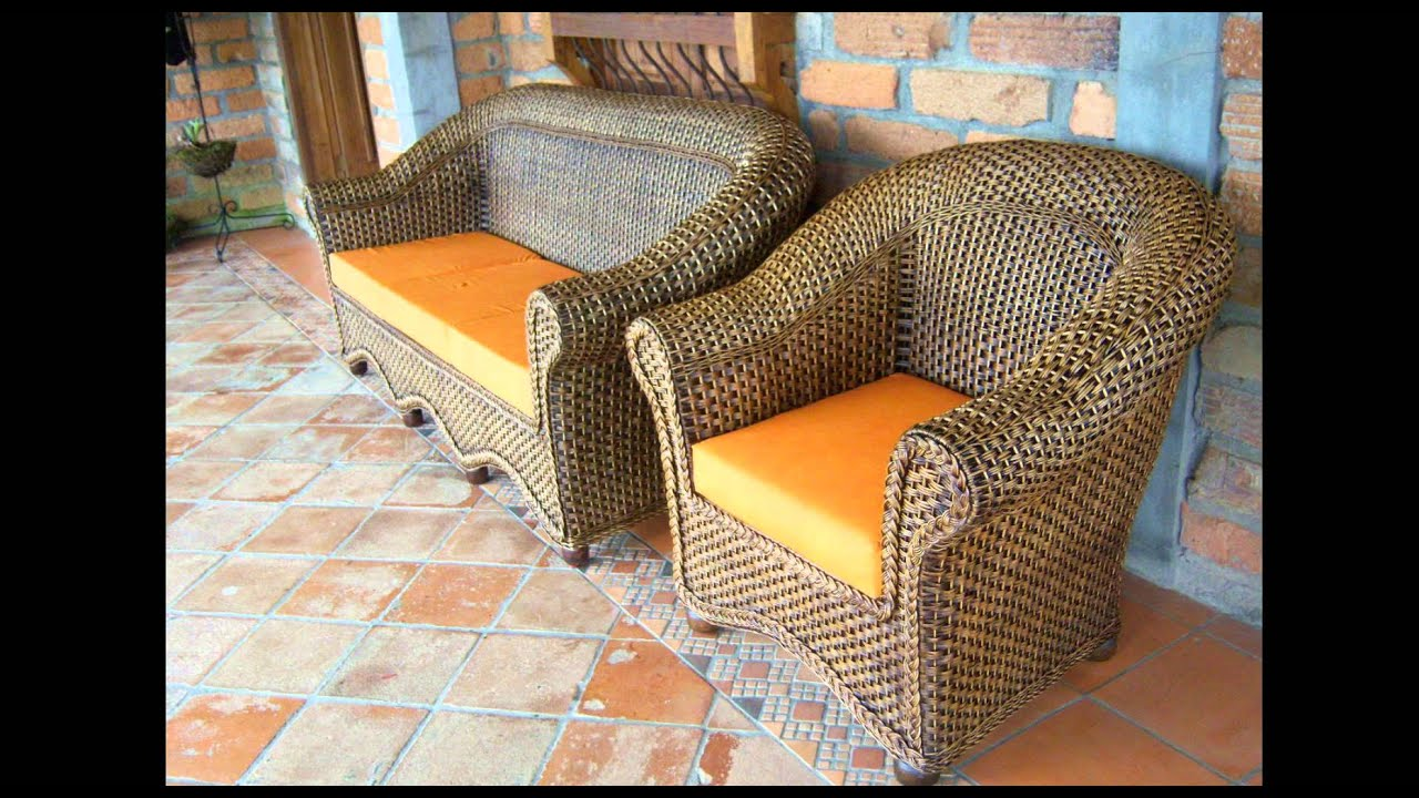 Muebles Terraza Mimbre Muebles De Mimbre Y Ratn Banco Terraza  # Muebles Mimbre Baratos