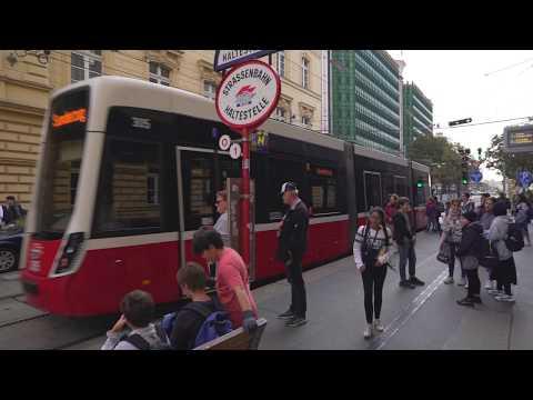 Austria, Vienna, tram 1 ride from Hintere Zollamtsstraße to Karlsplatz