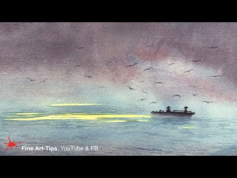 HOW TO PAINT A FISHING BOAT IN WATERCOLOR - Easy
