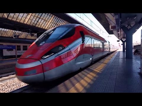 Freccia Rossa and Italo the fastest Italian trains in Rogoredo station Milan Italy
