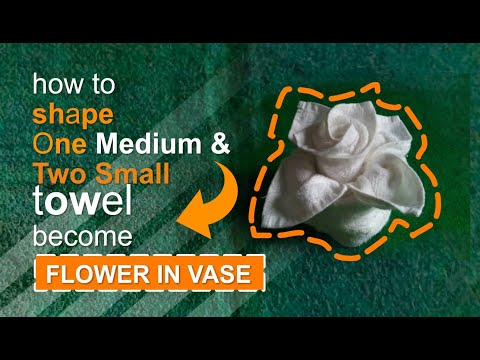 Towel Design Tutorial -  One Medium And Two Wash Cloth Towels To Design A Flower In Vase