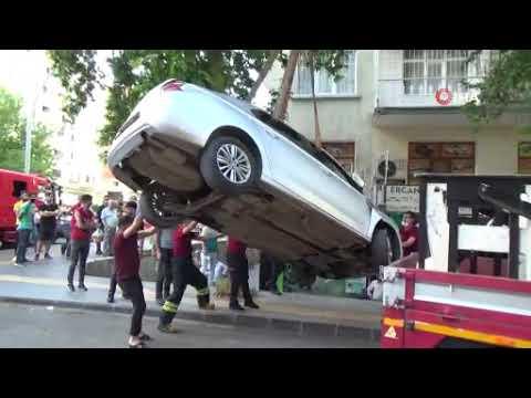 Hızla sokağa girmek isteyince mağazaya uçtu, aracını bırakıp kaçtı