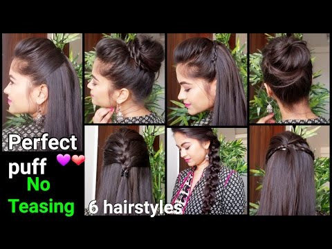 1 Min Perfect Puff & 6 QUICK EASY Hairstyles for medium to long hair for Diwali//Indian hairstyles