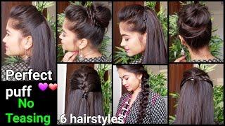 1 min perfect puff 6 quick easy hairstyles for medium to long hair for diwaliindian hairstyles