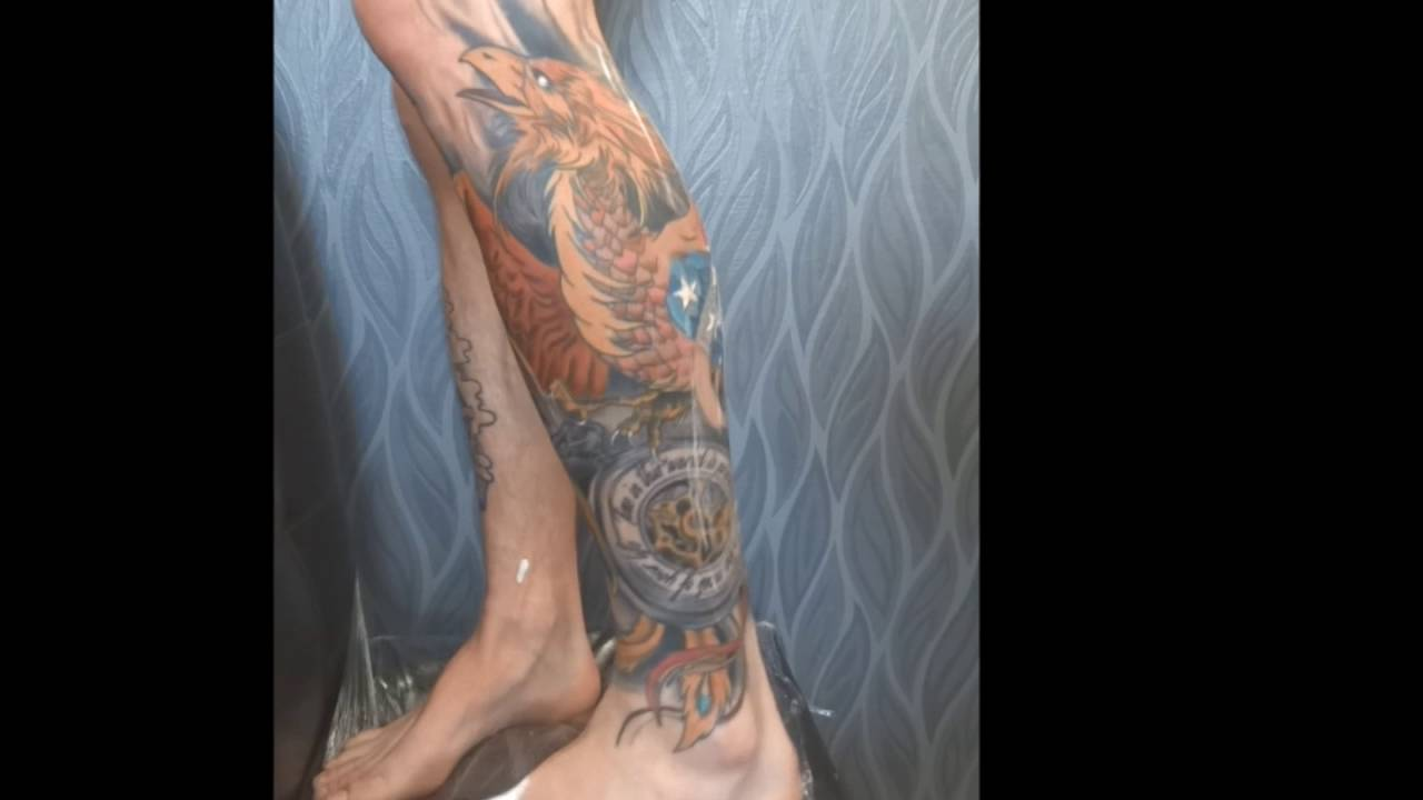 Japanese Leg Sleeve Tattoo American Phoenix Chris Cosmos Studio Cyprus Tziortzis 3 Youtube