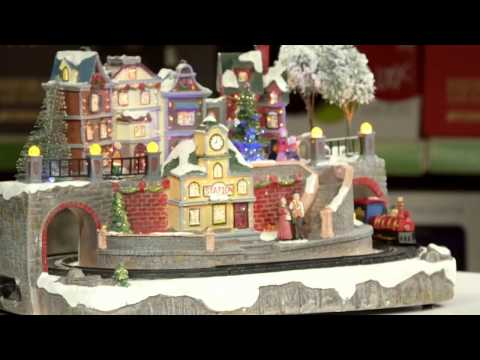 Large Village Scene Christmas Decoration with LED Lighting and Moving Train |186218 | Robert Dyas