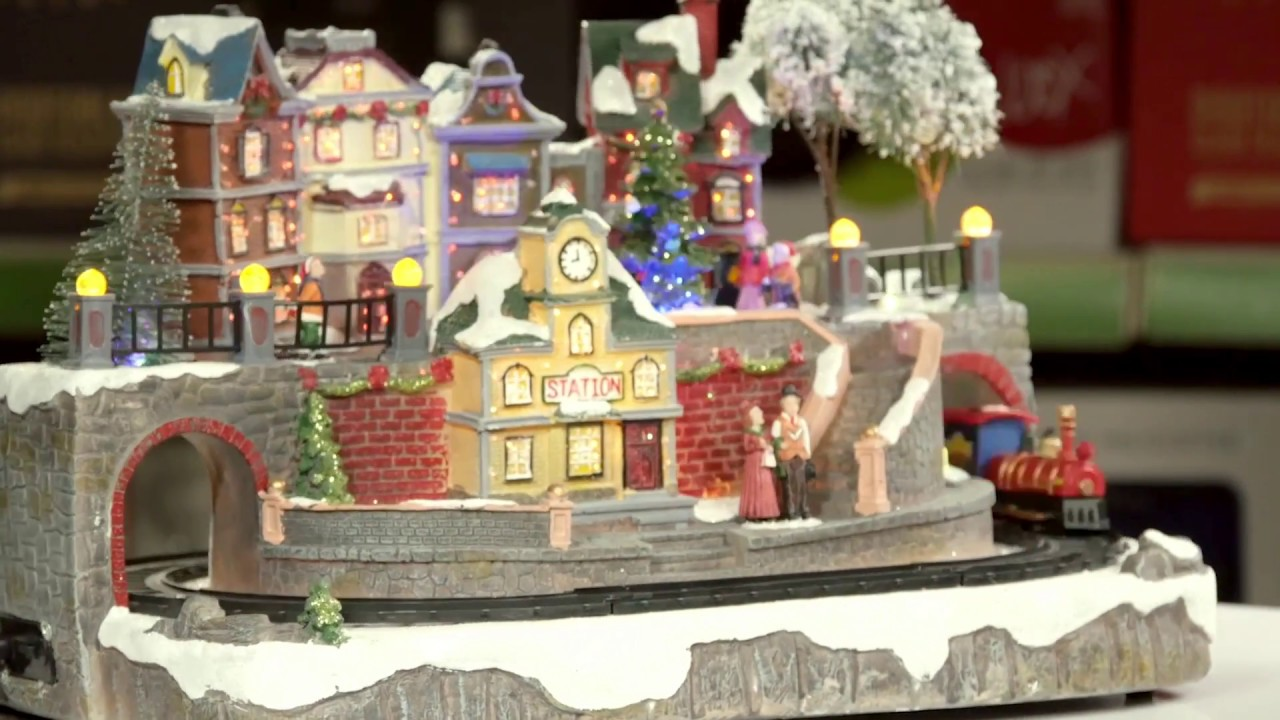 Large Village Scene Christmas Decoration With Led Lighting And Moving Train 186218 Robert Dyas