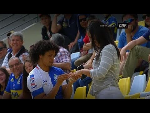 Watch: Footballer celebrates goal by proposing to girlfriend
