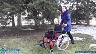 Коляска инвалидная Barry с амортизаторами колес 7018 A0603PU/J обзор от MEDTEHNO.RU