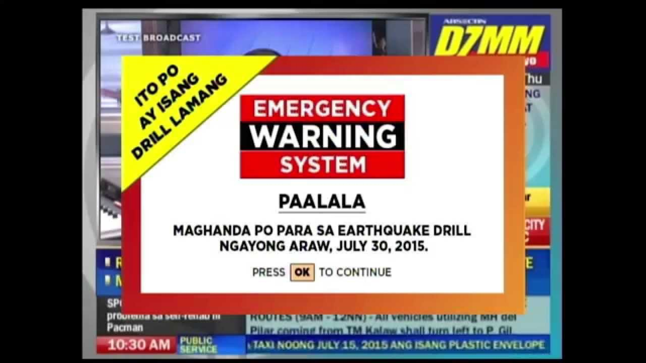 MMShakeDrill: ABS-CBN TV Plus Emergency Warning System, Drop Cover ...