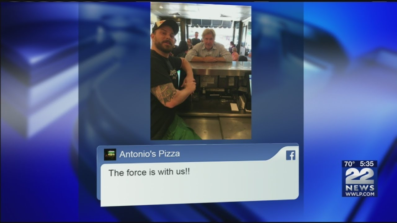 Harrison Ford, Calista Flockhart and son make pizza stop in Amherst