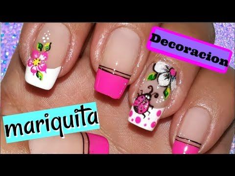 Decoraci n de u as mariquita mariquita nail decoration - Disenos de unas con mariposas faciles ...