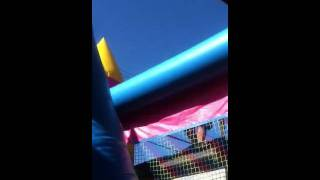 Man jumps off roof into bounce house