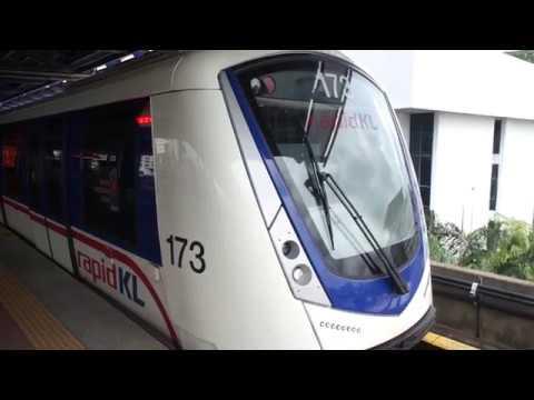 LRT KJ Line Bombardier Innovia Metro 300 Set 73 departing at Asia Jaya