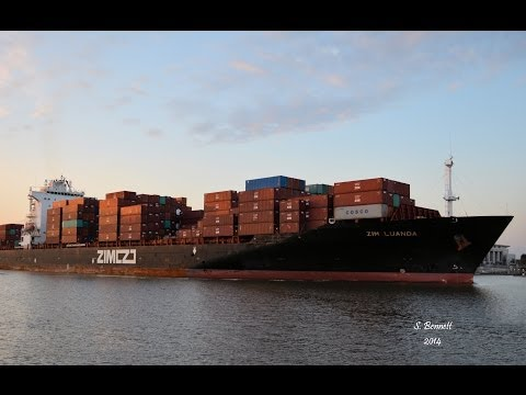 Container Ship Zim Luanda leaving the Port Of Savannah