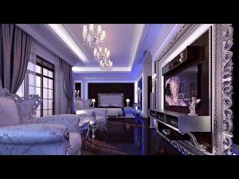 Interior Design. Luxury neoclassical bedroom interior.