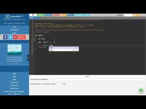 Run and Debug C program with OnlineGDB.com