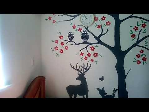 Художественная декоративка , дерево на стене , в детскую , цветы из шпаклевки мастехином