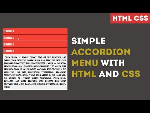 SIMPLE ACCORDION MENU WITH HTML AND CSS
