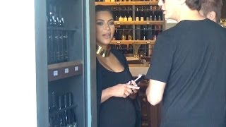 Heavily Pregnant Kim Kardashian Shops For Wine In Beverly Hills