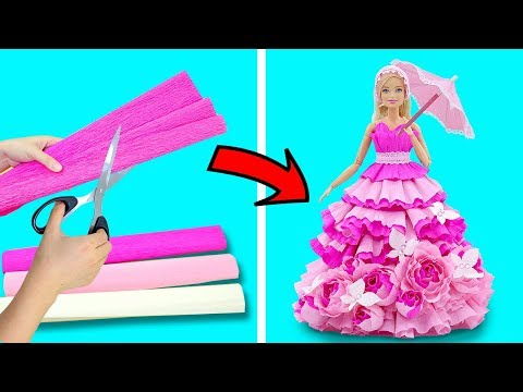 DIY BARBIE HACKS AND CRAFTS: Making Easy Clothes for Barbies Doll From Crepe Paper