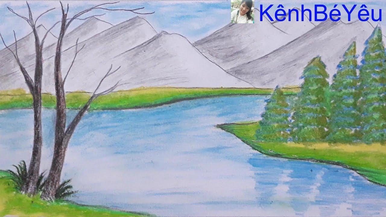 Vẽ núi rừng đơn giản – Vẽ tranh sáp dầu;Draw simple forest mountains – Painting oil wax.