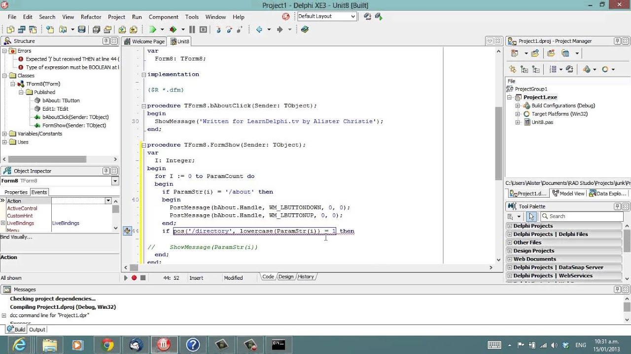 Delphi Programming Tutorial #87 - Command Line Parameters - YouTube