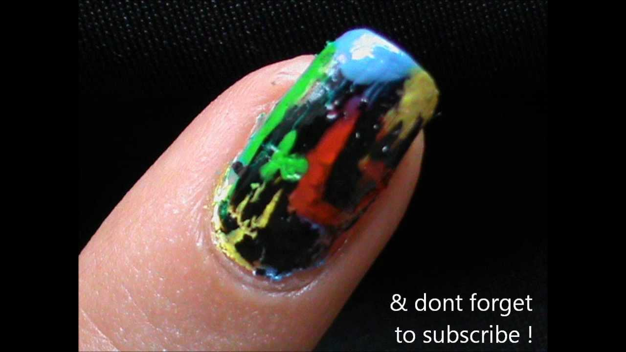Colorful Crackle Nail Designs Using Crackle Nail Polish Youtube