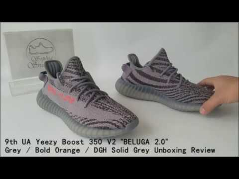 b2d5705b5eac08 9th UA Yeezy Boost 350 V2 BELUGA 2 0 Grey Bold Orange DGH Solid Grey  Unboxing Review